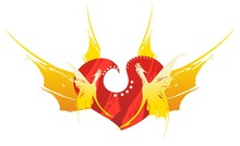 Retro Red Dragon Heart With Wings - A Success Symbol