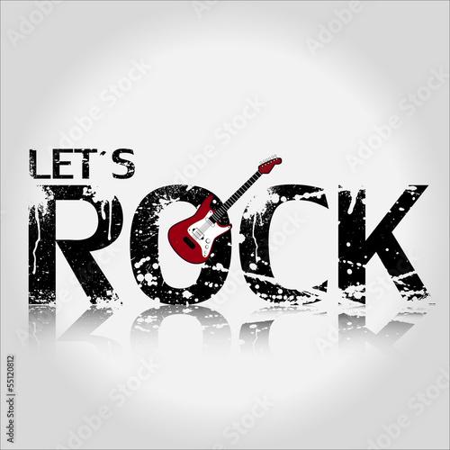 Sticker - Let´s Rock Gitarre Hintergrund Vektor