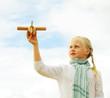 Childhood - kid with airplane toy, freedom concept, fine art por