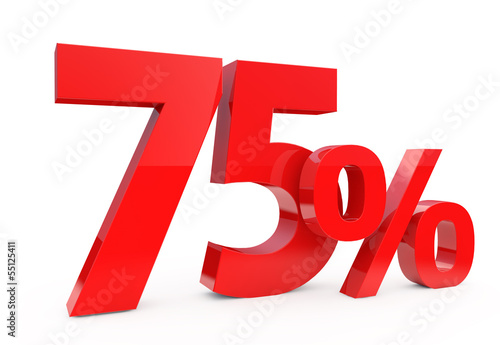 75 percent in red letters on a white background Poster
