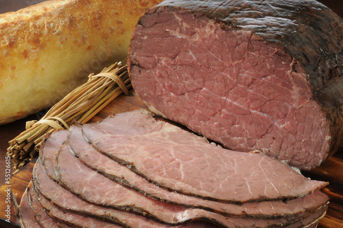 Sliced roast beef and bread Poster