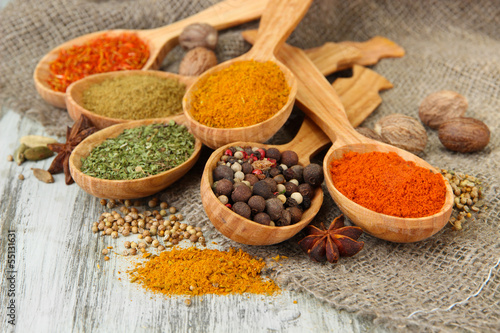 Foto op Plexiglas Kruiden Assortment of spices in wooden spoons on wooden background