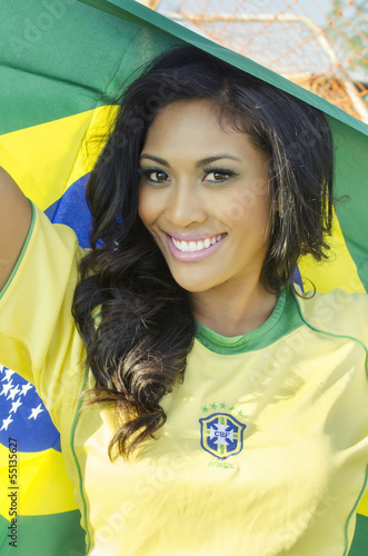 Photo  Beautiful happy smiling Brazil soccer fan