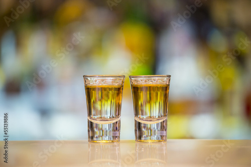 Pair of Anaconda shots on a bar Canvas Print