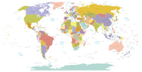 Fototapeta High Detail World map.Layers used.