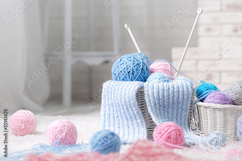 Fotografie, Obraz  Basket with balls of yarn