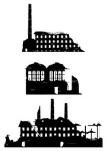 Industrial Ruins On A White Background.