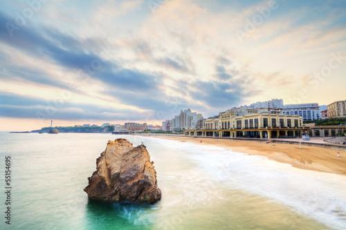 Papiers peints Blanc Plage de Biarritz au petit matin.