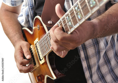 Tocando la guitarra eléctrica. Canvas Print