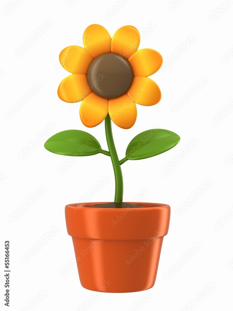 3d render of a sunflower on a pot