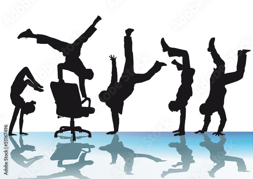 Handstand und Freude im Büro Fototapeta