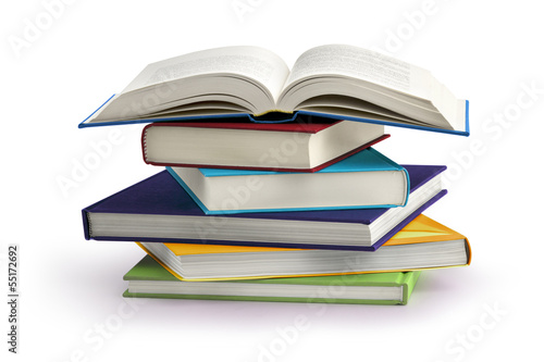 Fotografía  stack of books isolated on white background