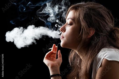 Garden Poster Smoke Woman Smoking a Cigarette on Black Background