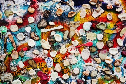 Foto op Aluminium Graffiti Part of Berlin Wall with graffiti and chewing gums