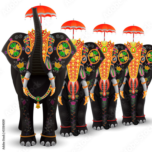 Photo  Decorated Elephant of South India