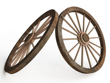 3D Old Wooden Wagon ( Carriage) Wheels