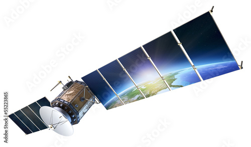 Fotografía  Satellite communications with earth reflecting in solar panels i