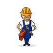 Profession construction worker cartoon figure.