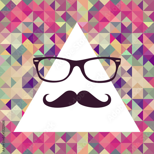 Staande foto Kunstmatig Vintage hipster face geometric pattern.