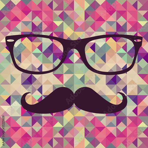 Staande foto Kunstmatig Vintage hipster face geometric pattern