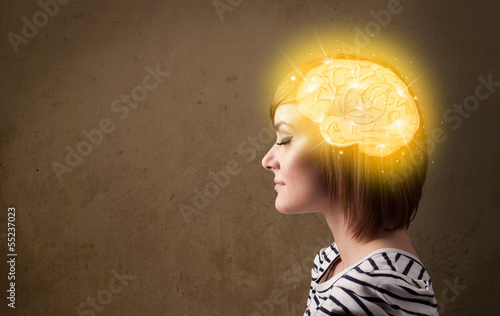 Leinwand Poster Young girl thinking with glowing brain illustration