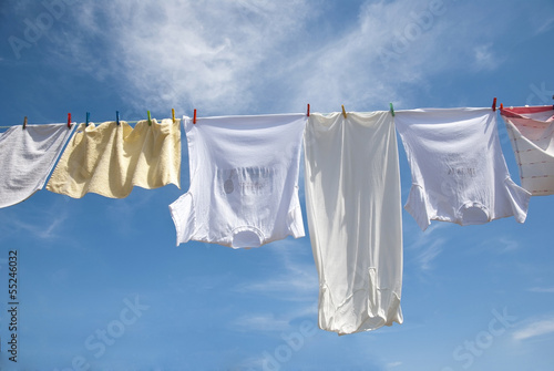 Fotografie, Obraz  Laundry drying on the rope outside