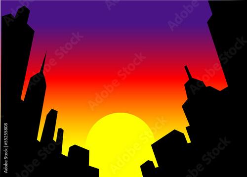 Poster Prune Sunset City Skyline Background