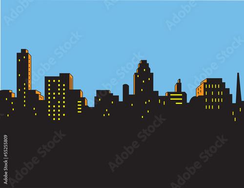 Fotografie, Obraz  Retro Classic City Skyline