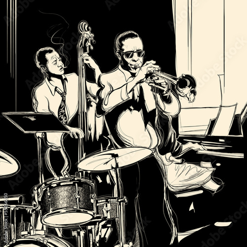 Photo sur Toile Groupe de musique Jazz band with double-bass trumpet piano and drum