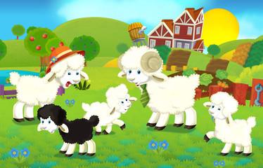 Obraz na płótnie Canvas Cartoon illustration with sheep family on the farm