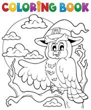 Coloring Book Halloween Owl 1