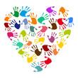 Handabdrücke in Herzform