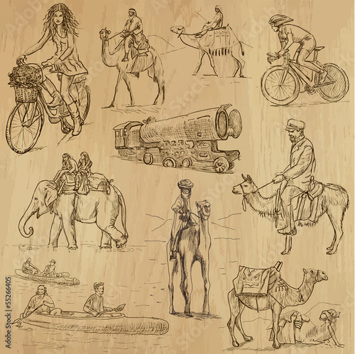 Fotografering  Transportation around the World (part 1) - hand drawings
