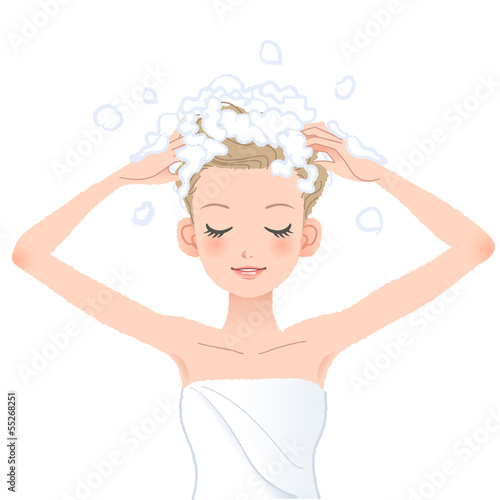 Fotografie, Obraz  シャンプー 洗髪  Young woman washing her head with shampoo