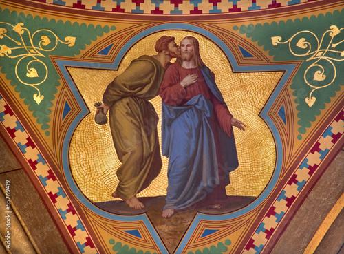Canvas-taulu Vienna - Fresco of Judas betray Jesus