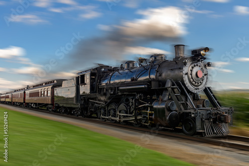 historic steam train passes through the fields2 Canvas Print