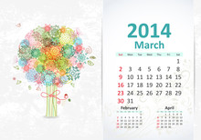 Calendar For 2014, March