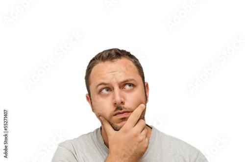 Fotografie, Obraz  Uomo dubbioso su sfondo bianco