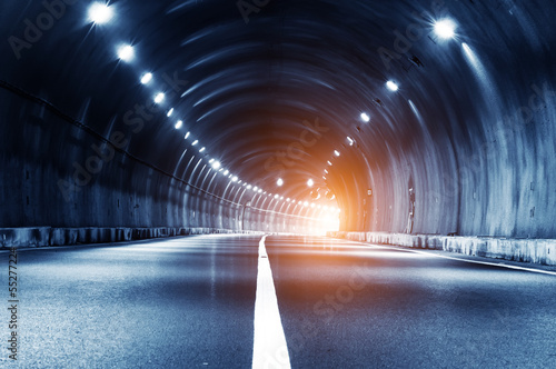 Abstract car in the tunnel trajectory Fotobehang