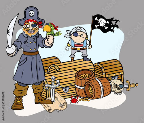 pirate-captain-black-and-team-with-treasure-vector-characters