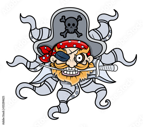 creepy-octopus-head-captain-pirate-cartoon-ilustracji-wektorowych