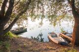 Fototapeta Na sufit - boats and sunrise