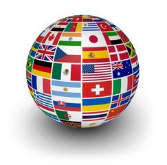 Fototapeta Globe International World Flags