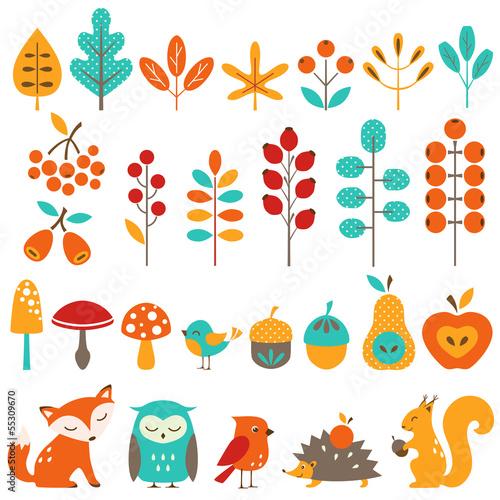 Obraz na plátně  Сute autumn design elements