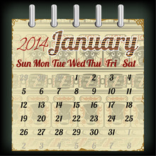 Calendar For January 2014 With An African