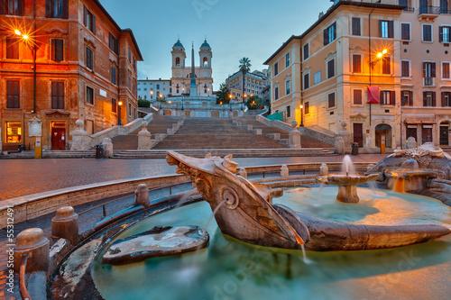 Fotografie, Obraz  Španělské schody za soumraku, Řím