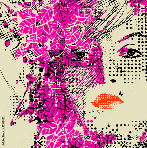 Door stickers Woman face abstract floral woman
