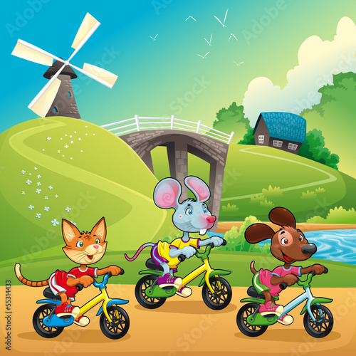 Papiers peints Chateau Pets are going for a ride in the countryside.