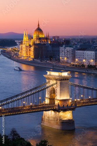Budapest cityscape with Chain Bridge and Parliament Building Poster