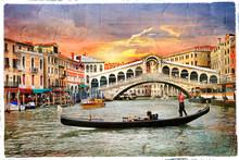 Venetian Sunset, Artwork In  Panting Style